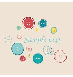 Decorative group of sewing buttons with sample vector