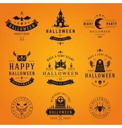 Set vintage happy halloween badges and labels vector