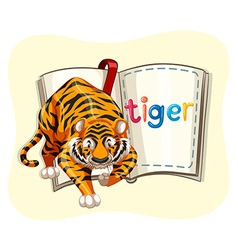 Giant tiger and a book vector