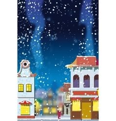 Winter in the little european town vector