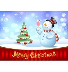Snowman with gift vector image