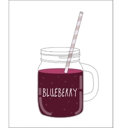 Fresh blueberry smoothie healthy food vector