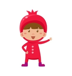 Kid in pomegranate costume vector