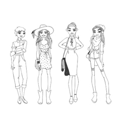 Fashion girls pure beauty colored cartoon sketch vector