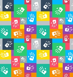 Seamless background with squares and hands vector