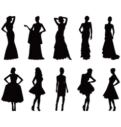 Elegant silhouettes of women vector image