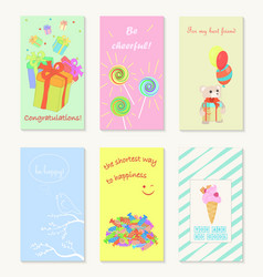 Birthday and holiday invitation greeting cards vector
