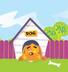 dog sleeping in dog house vector image