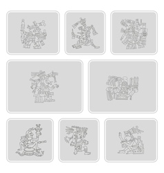 set of monochrome icons with symbols from Aztec co vector image