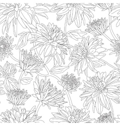 Seamless pattern with dahlia in black and white vector