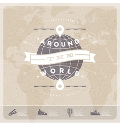 Around the world travel vintage type design vector image