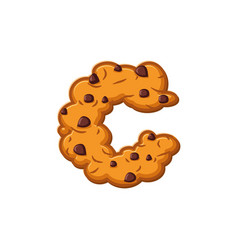 c letter cookies cookie font oatmeal biscuit vector image