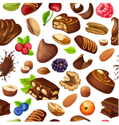 cartoon chocolate seamless pattern vector image vector image