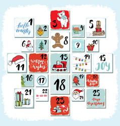 Christmas advent calendar winter elements set vector