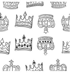 collection crown various pattern style vector image