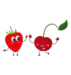 Cute funny comic style garden strawberry and vector