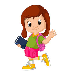 cute girl go to school cartoon vector image vector image