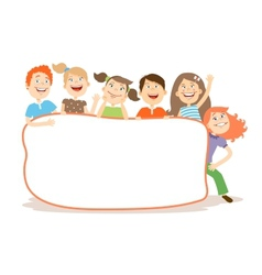 Cute laughing kids around a placard with copyspace vector