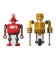 Cute vintage robot character vector image