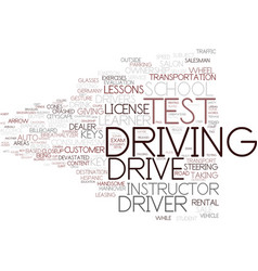 Driving test word cloud concept vector