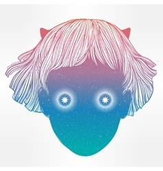 Extraordinary demon girl portrait art vector image vector image