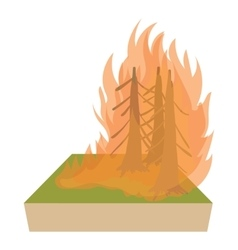 Forest fire icon cartoon style vector
