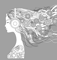 Girl half-face with loose hair and abstract vector