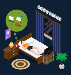 Good night isometric composition vector