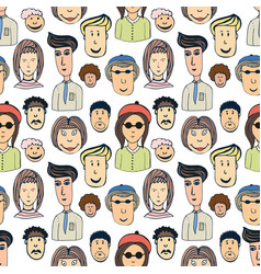Hand drawn seamless pattern with crowd of funny vector