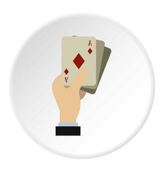 Hand holding playing cards icon circle vector