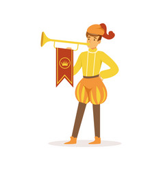 herald playing a trumpet european medieval vector image