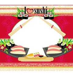 Japanese food menu - vintage card vector