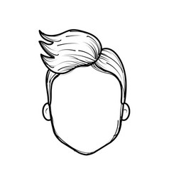 Line nice man face with haistyle vector
