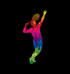 Man tennis player sport man pose serve vector