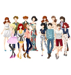 Men and women in fashionable clothes vector image