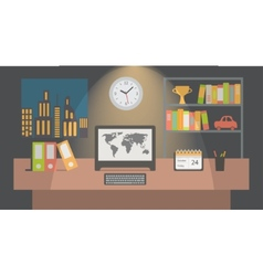 Office workspace interior nighttime flat vector image