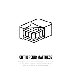 orthopedic mattress icon line logo flat sign for vector image vector image
