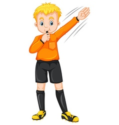 Referee blowing whistle and making gesture vector