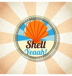 Sea shell on the shore vector