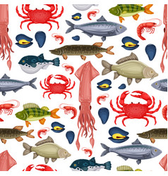 seamless pattern seafood set with crab fish vector image