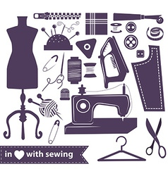 Sewing related elements over white vector