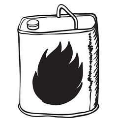 Simple black and white gasoline can vector