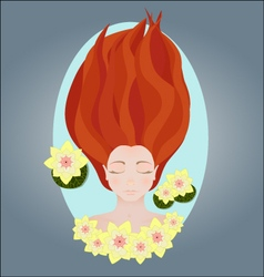 Sleeping young girl water and lily vector