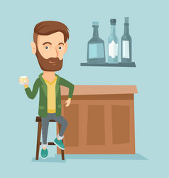 smiling man sitting at the bar counter vector image vector image
