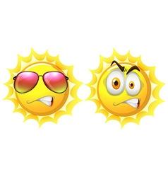 Sun with facial expression vector