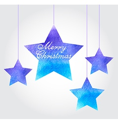 Watercolor christmas background with blue stars vector