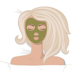 Young women enjoys the spa treatments vector image