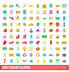100 chart icons set cartoon style vector