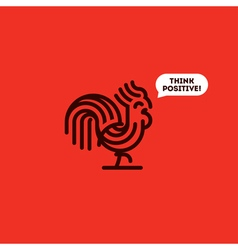 Think positive concept with cute walking rooster vector image
