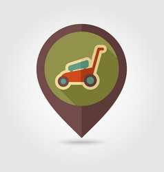 Lawn mowers flat pin map icon garden vector